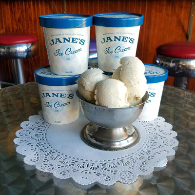 Proudly Serving Jane's Ice Cream